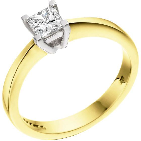 Single Stone Engagement Ring for Women in 18ct Yellow and White Gold with a Princess Diamond in a Claw Setting-img1