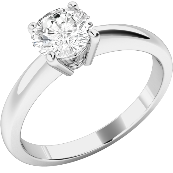 Single Stone Engagement Ring for Women in 18ct White Gold with a Round Diamond in a 4-claw Setting-img1