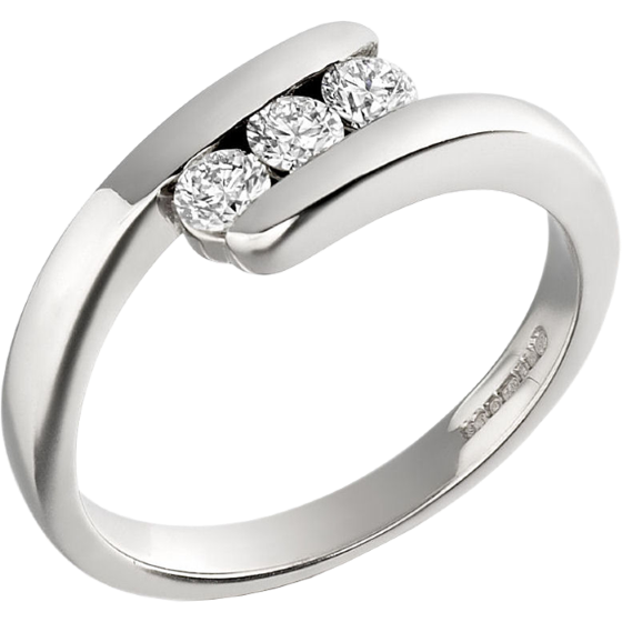 Three Stone Ring/Engagement Ring for women in 18ct white gold with 3 round brilliant cut diamonds-img1