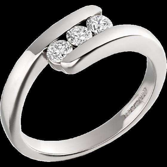 Drei-Steine Ring/Verlobungsring für Dame in 18kt Weißgold mit 3 runden Brillant Schliff Diamanten Twist Stil-img1