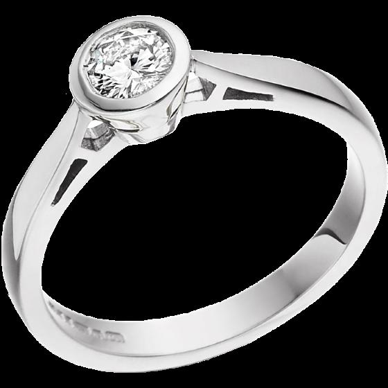 Inel de Logodna Solitaire Dama Aur Alb 18kt cu un Diamant Rotund Briliant incercuit de Metal in Setare Rub-Over-img1