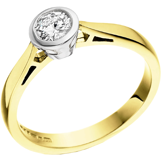 Single Stone Engagement Ring for Women in 18ct Yellow and White Gold with a Round Brilliant Diamond in a Rub-over Setting-img1