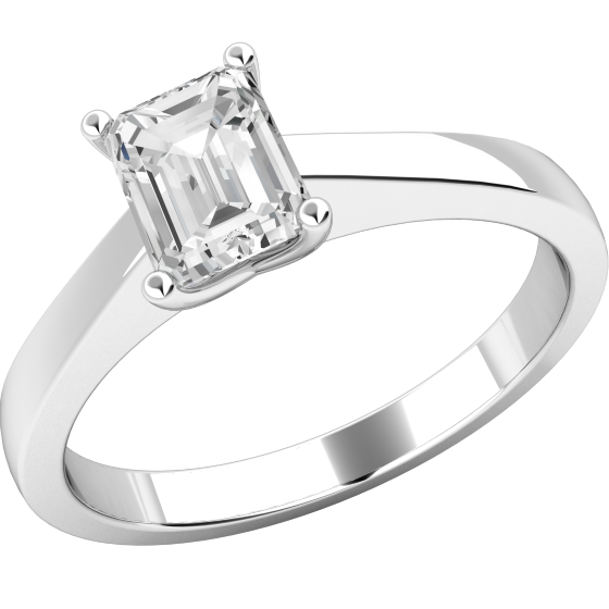 Single Stone Engagement Ring for Women in 18ct White Gold with an Emerald Cut Diamond in a Wed-Fit Setting-img1