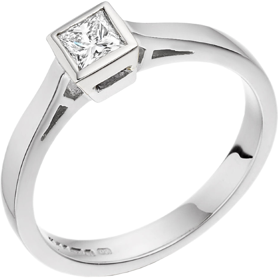 Single Stone Engagement Ring for Women in Palladium with a Princess Cut Diamond in a Rub-over Setting-img1