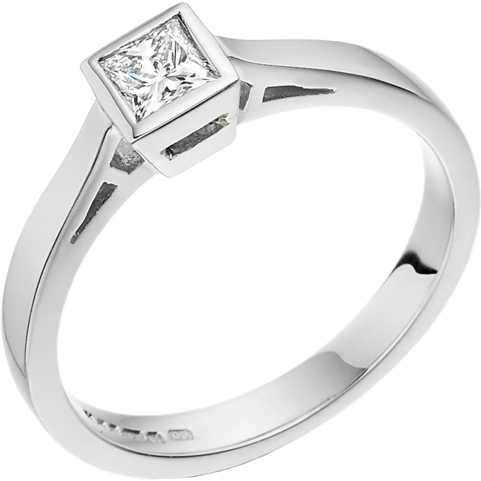 Single Stone Engagement Ring for Women in 18ct White Gold with a Princess Cut Diamond in a Rub-over Setting on Offer-img1