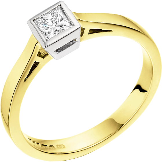 Single Stone Engagement Ring for Women in 18ct Yellow and White Gold with a Princess Cut Diamond in a Rub-over Setting-img1