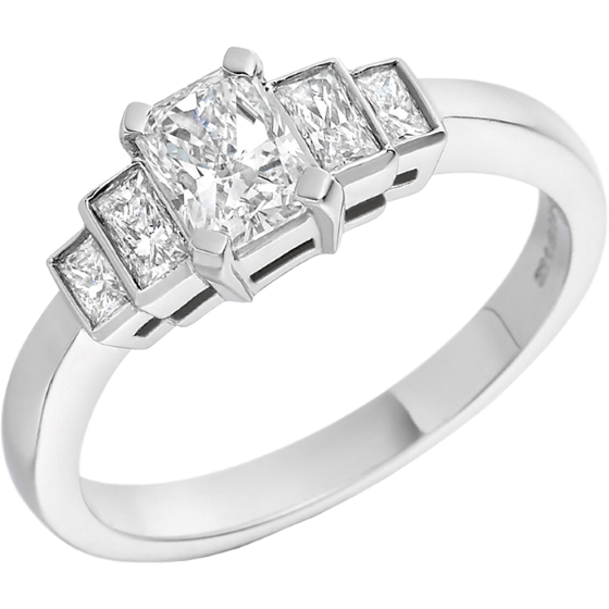 Single Stone Engagement Ring With Shoulders for Women in Platinum with 5 Radiant Cut Diamonds-img1