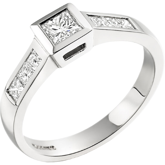 Single Stone Engagement Ring With Shoulders for Women in 18ct White Gold with a Princess Cut Centre and Princess Cut Shoulders on Offer-img1