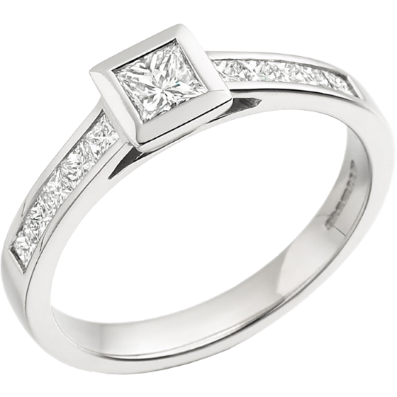 Single Stone Engagement Ring With Shoulders for Women in 18ct White Gold with a Princess Cut Centre and Princess Cut Shoulder-Diamonds on Offer-img1