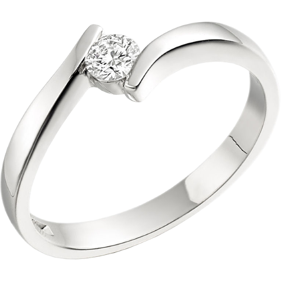 Single Stone Twist Engagement Ring for Women in 18ct White Gold with a Round Diamond in a Tension Setting-img1