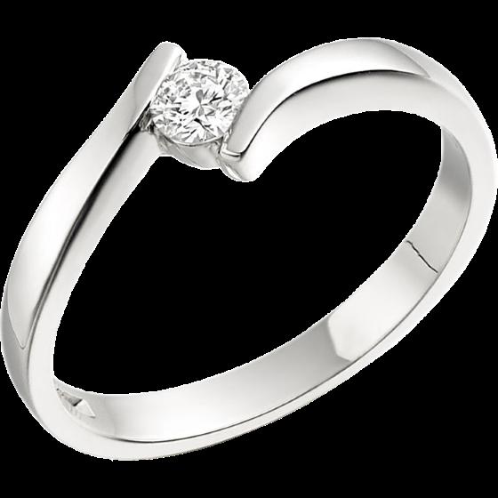 Solitär Verlobungsring für Dame in 18kt Weißgold mit einem runden Diamanten in Spannfassung, Twist Stil-img1
