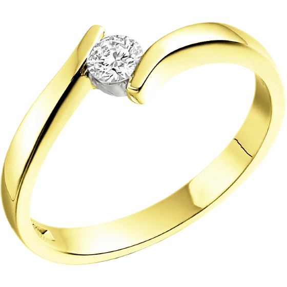 Single Stone Twist Engagement Ring for Women in 18ct Yellow Gold with a Round Diamond in a Tension Setting-img1