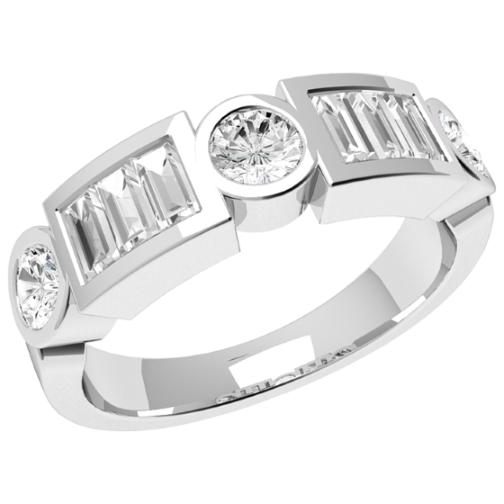 Half Eternity Ring for women in platin with round and baguette cut diamonds-img1