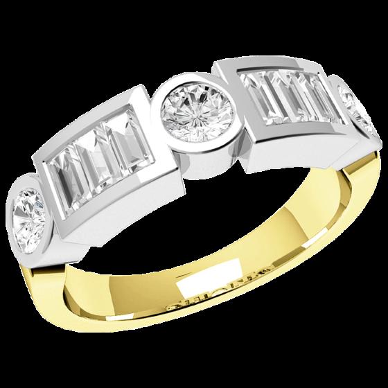 Halb Eternity Ring für Dame in 18kt Gelbgold und Weißgold mit runden Brillanten und Baguette Schliff Diamanten-img1