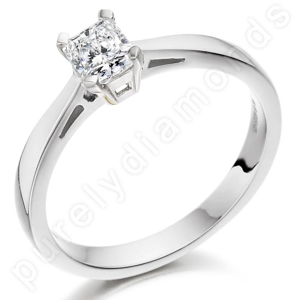Inel de Logodna Solitaire Dama Aur Alb 18kt cu un Diamant Radiant-img1
