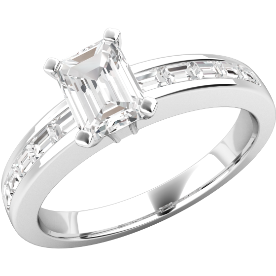 Single Stone Engagement Ring With Shoulders for Women in 18ct White Gold with an Emerald Cut Centre and Baguette Shoulder Diamonds-img1