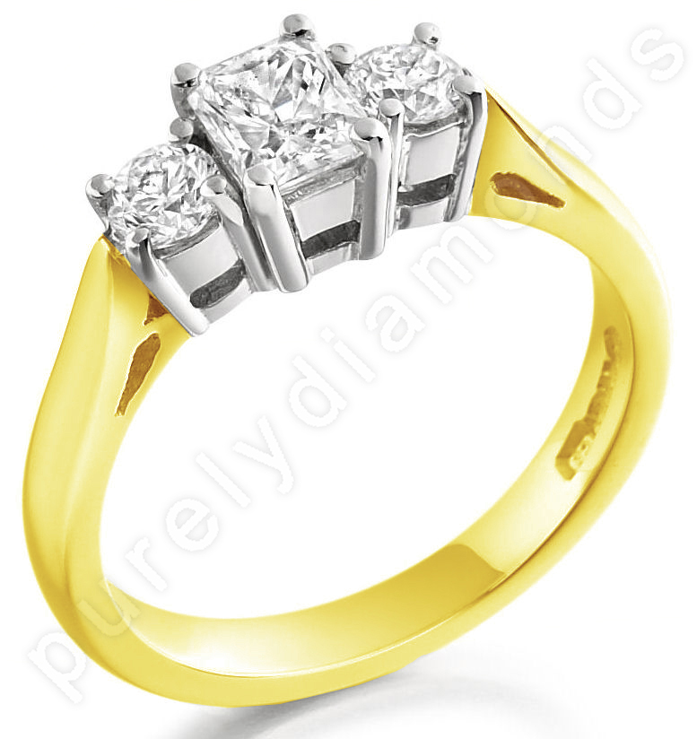 Three Stone Ring/Engagement Ring for women in 18ct yellow and white gold with a radiant cut and two round diamonds-img1