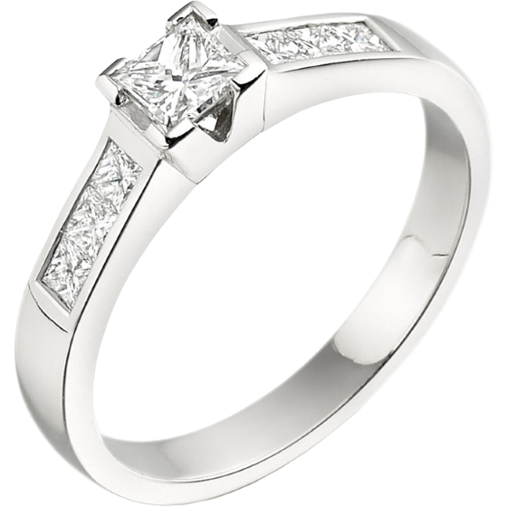 Single Stone Engagement Ring With Shoulders for Women in 18ct White Gold with a Princess Cut Centre Diamond and Princess Cut Shoulders-img1