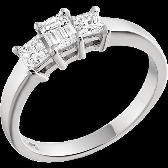 Drei Steine Ring Verlobungsring Fuer Dame In Platin Mit Einem