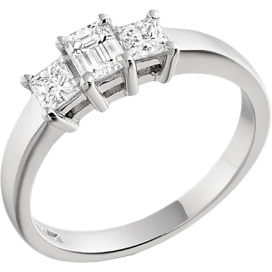 Three Stone Ring/Engagement Ring for women in 18ct white gold with an emerald cut and two princess cut diamonds-img1