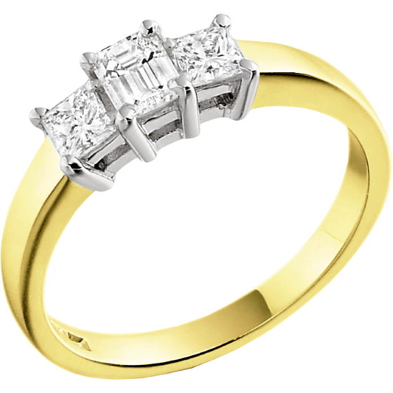 Three Stone Ring/Engagement Ring for women in 18ct yellow and white gold with an emerald cut and two princess cut diamonds-img1