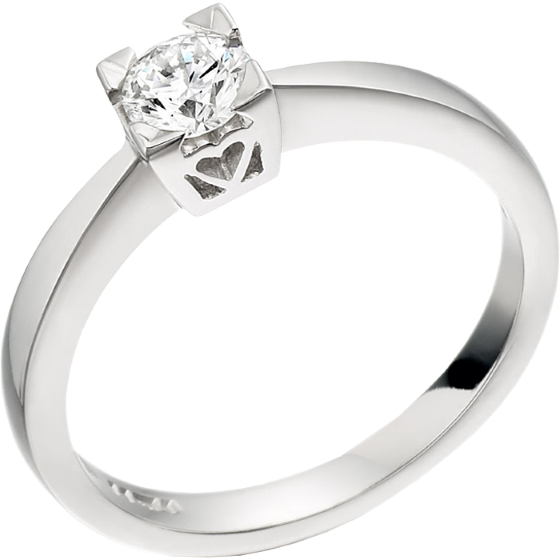 Single Stone Engagement Ring for Women in 18ct White Gold with a Round Diamond in a Claw-Setting-img1
