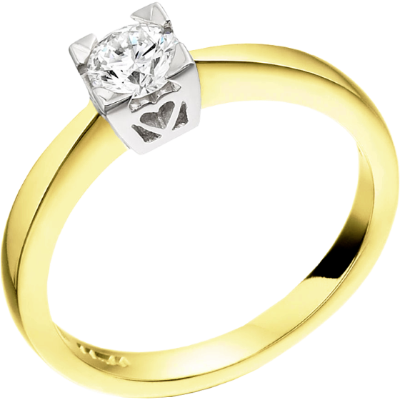 Single Stone Engagement Ring for Women in 18ct Yellow and White Gold with a Round Diamond in a Claw-Setting-img1