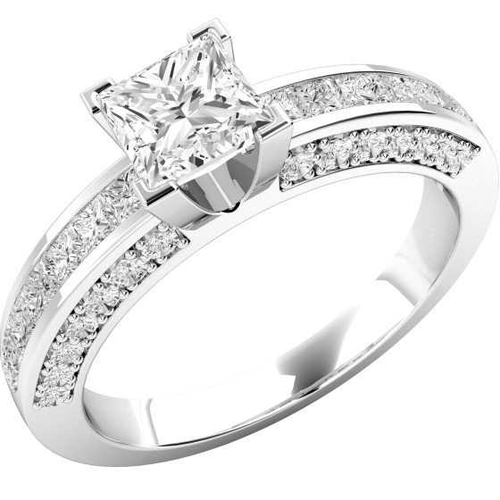 Single Stone Engagement Ring With Shoulders for Women in Platinum with a Princess Cut Centre and Princess Cut and Round Shoulder Diamonds-img1