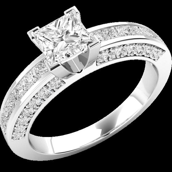 Solitär Verlobungsring mit Schultern für Dame in 18kt Weißgold mit einem mittleren Princess Schliff Diamanten und runden Diamanten auf den Schultern-img1