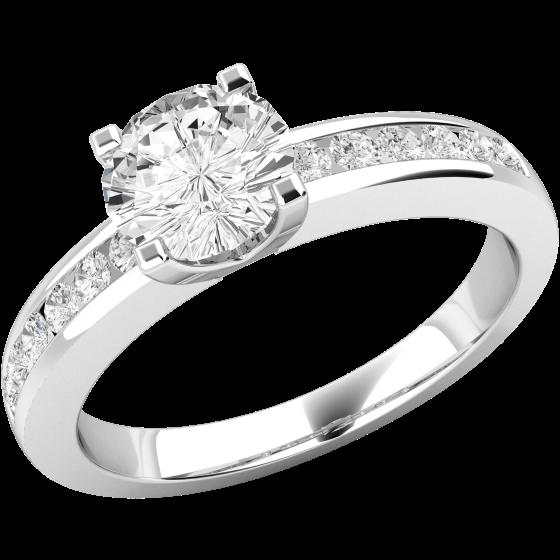 Solitär Verlobungsring mit Schultern für Dame in 18kt Weißgold mit einem runden Diamanten in der Mitter und runden Schulter-Diamanten-img1