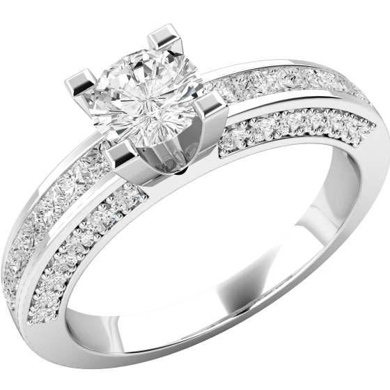 Single Stone Engagement Ring With Shoulders for Women in 18ct White Gold with a Round Centre Diamond and Princess Cut Shoulders-img1