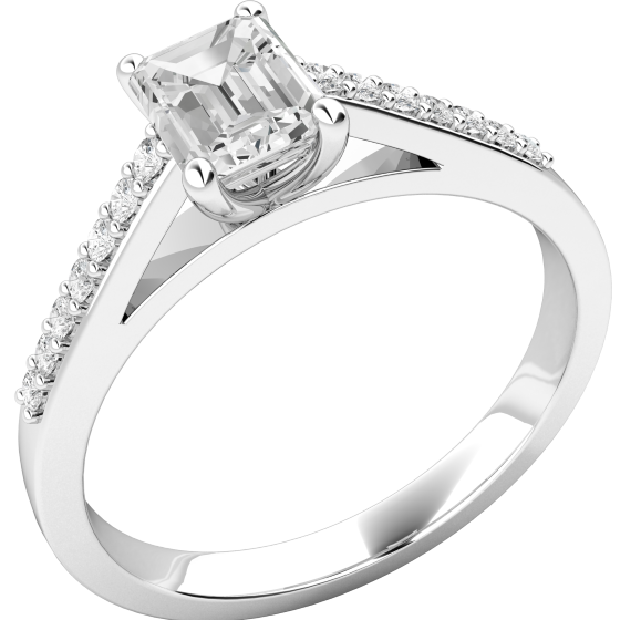 Single Stone Engagement Ring With Shoulders for Women in 18ct White Gold with an Emerald Cut Centre and Round Shoulder Diamonds-img1