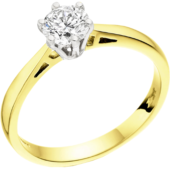 Single Stone Engagement Ring for Women in 18ct Yellow and White Gold with a Round Diamond in a Classic 6-Claw Setting-img1