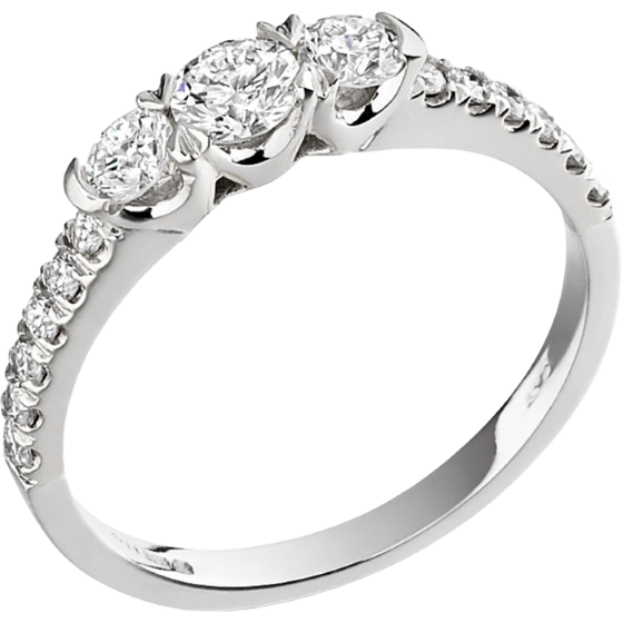 Three Stone Ring with Shoulders/Engagement Ring for women in platinum with 3 round diamonds & round diamonds on the shoulders-img1