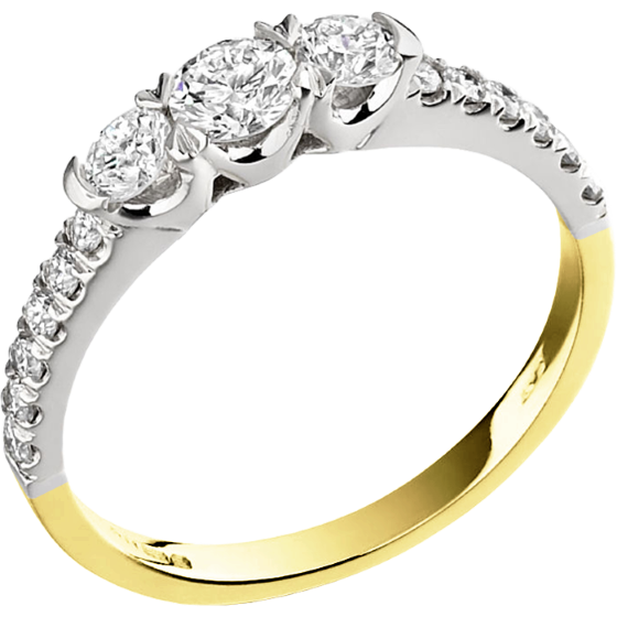 Three Stone Ring with Shoulders/Engagement Ring for women in 18ct yellow and white gold with 3 round diamonds & round diamonds on the shoulders-img1
