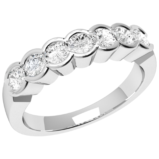 Inel Semi Eternity Dama Platina cu 7 Diamante Rotunde in Setare Rub-Over-img1