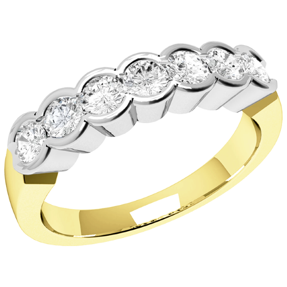 Half Eternity Ring for women in 18ct yellow and white gold with 7 round diamonds in rub-over setting-img1
