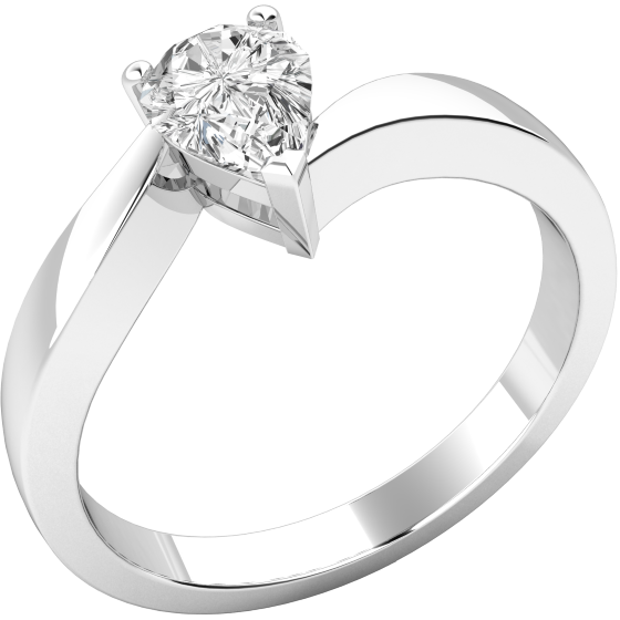 Single Stone Twist Engagement Ring for Women in 18ct White Gold with a Pear-Shaped Diamond in a Claw Setting-img1