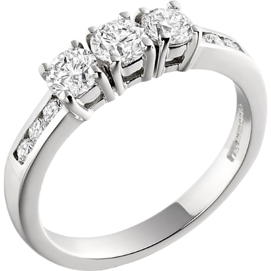 Three Stone Ring with Shoulder/Engagement Ring for women in 18ct white gold with 3 round diamonds and round diamonds on the shoulders-img1