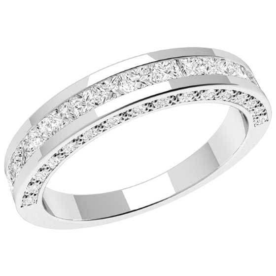 Half Eternity Ring/Diamond set wedding ring for women in platinum with princess cut & round brilliant cut diamonds-img1