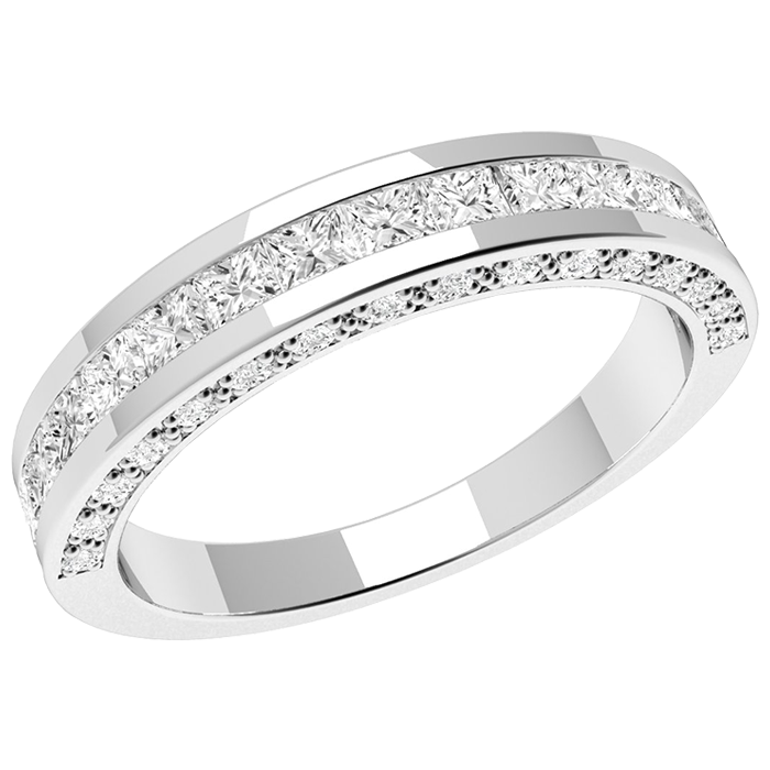Half Eternity Ring/Diamond set wedding ring for women in 18ct white gold with princess cut & round brilliant cut diamonds on Offer-img1
