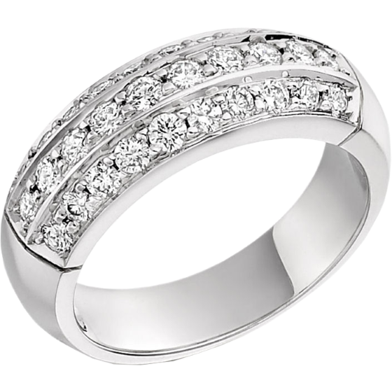 Dress Ring for Women in 18ct white gold with round diamonds in pave setting-img1