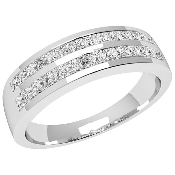 Inel Semi Eternity Dama Aur Alb, 18kt cu Diamante Princess in 2 Randuri-img1