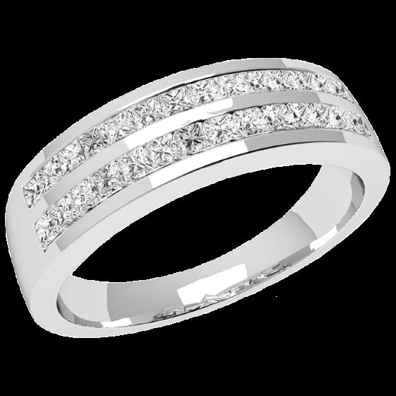 Halb Eternity Ring/Cocktail Ring mit Diamanten für Dame in 18kt Weißgold mit Princess Schliff Diamanten in 2 Reihen im Angebot-img1