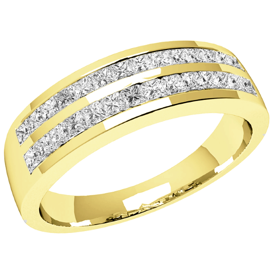 Halb Eternity Ring/Cocktail Ring mit Diamanten für Dame in 18kt Gelbgold mit Princess Schliff Diamanten in 2 Reihen-img1