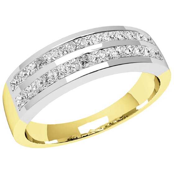 PD196Y - 18ct yellow and white gold ring with 2 rows of princess cut diamonds-img1