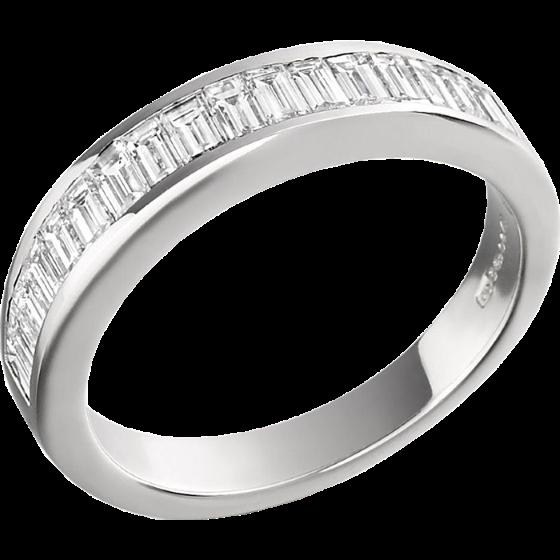 Inel Semi Eternity Dama Platina cu Diamante Forma Bagheta in Setare Canal-img1