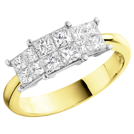 Three Stone Ring/Dress Ring/Engagement Ring for women in 18ct yellow and white gold with princess cut diamonds in an invisible setting-img1