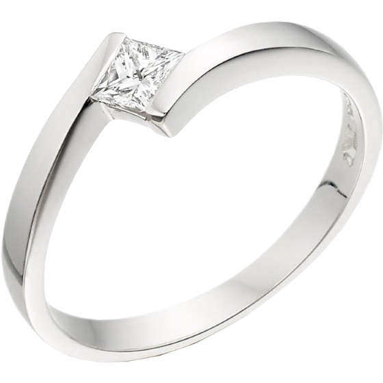 Inel de Logodna Solitaire Dama Platina cu un Diamant Princess in Setare Tensionata, Inel Twist-img1