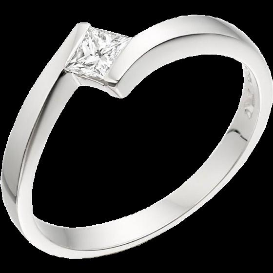Inel de Logodna Solitaire Dama Aur Alb 18kt cu un Diamant Princess in Setare Tensionata, Inel Twist in Oferta-img1